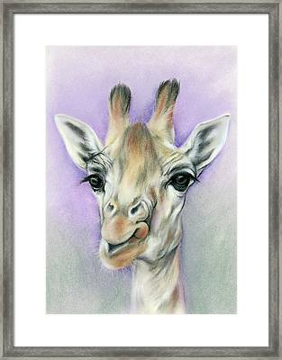 Giraffe With Beautiful Eyes Framed Print by MM Anderson