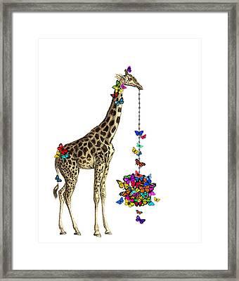 Giraffe With Colorful Rainbow Butterflies Framed Print