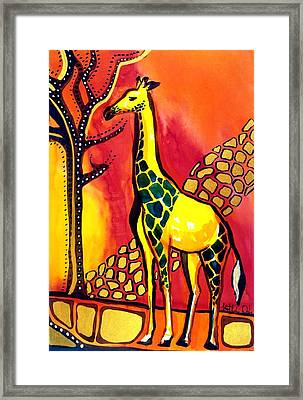 Giraffe With Fire  Framed Print by Dora Hathazi Mendes