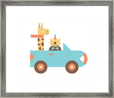 Animal Car Pool Framed Print by Mitch Frey