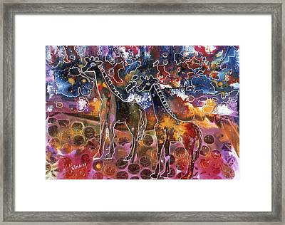 Framed Print featuring the painting Giraffes by Sima Amid Wewetzer