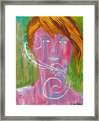 Framed Print featuring the painting Girl 13 by Josean Rivera
