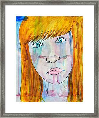 Framed Print featuring the painting Girl 17 by Josean Rivera