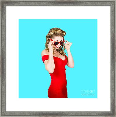 Girl Adjusting Glasses To Flashback A 1950s Look Framed Print by Jorgo Photography - Wall Art Gallery