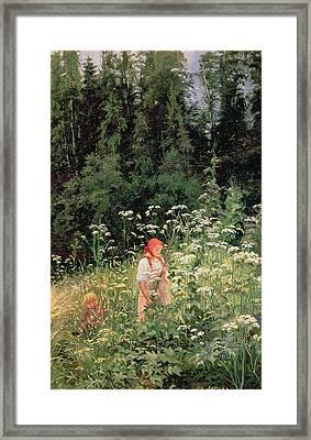 Girl Among The Wild Flowers Framed Print by Olga Antonova Lagoda Shishkina