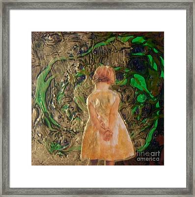 Girl And A Beanstalk  Framed Print by Michaela Kraemer