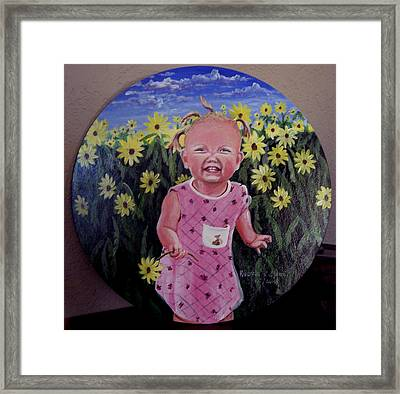 Girl And Daisies Framed Print