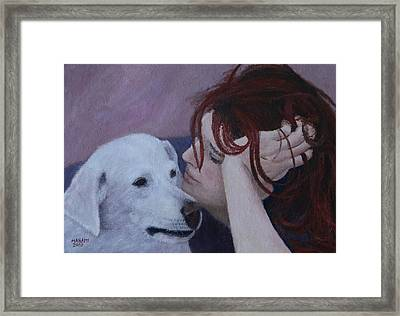 Girl And Dog Framed Print