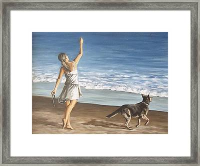Framed Print featuring the painting Girl And Dog by Natalia Tejera