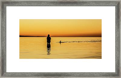 Girl And Dolphin - Monkey Mia, Western Australia Framed Print by Gary Wright