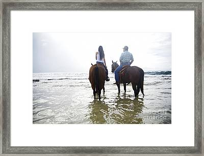 Girl And Father Riding Horses Framed Print by Kicka Witte - Printscapes