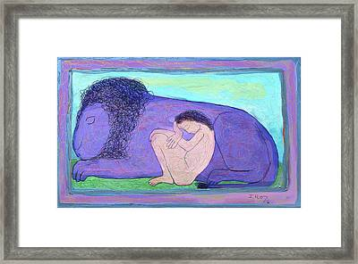 Girl And Lion Framed Print