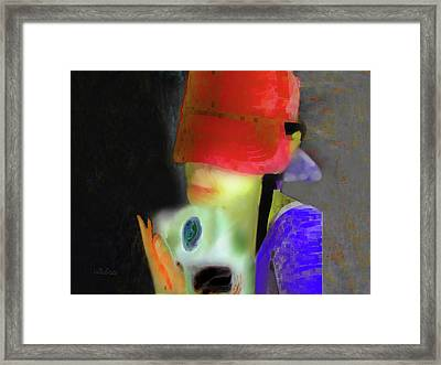Girl And Puppy Painting Framed Print