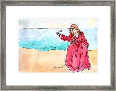 Girl And Singing Fish Framed Print