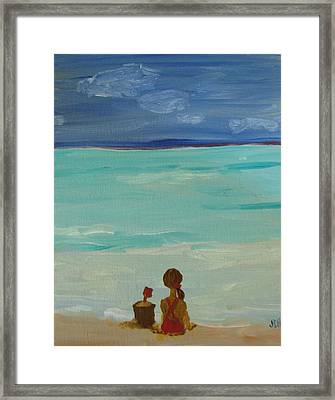 Girl And The Beach Framed Print