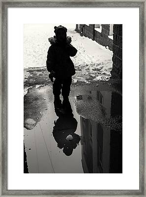 Girl And The Pool Of Reflection Street Abstract Framed Print