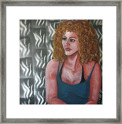 Girl And Tiles Framed Print