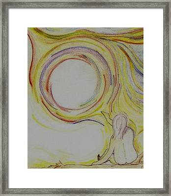 Girl And Universe Creative Connection Framed Print