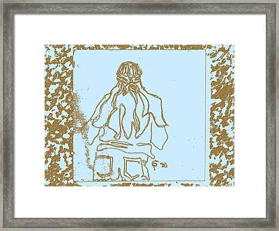 Girl At Fifth Dimension Concert In Park In Blue And Brown Framed Print