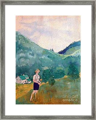 Girl At Murray Hollow Framed Print by Fred Jinkins