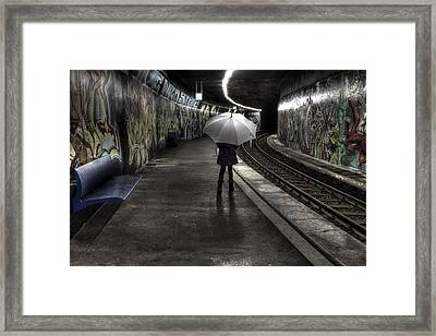 Girl At Subway Station Framed Print
