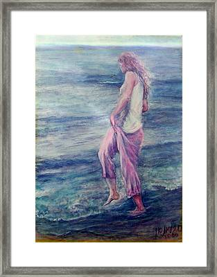 Girl At The Beach Framed Print