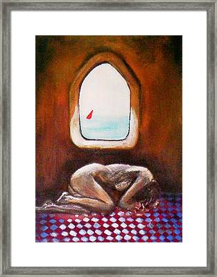 Framed Print featuring the painting Girl At The Beach by Winsome Gunning