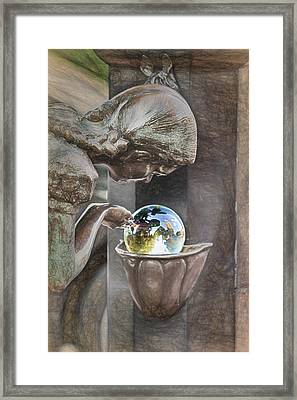 Girl At The Fountain Framed Print by John Haldane