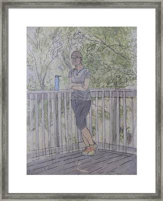 Framed Print featuring the painting Girl At The Mountain Top by Joel Deutsch