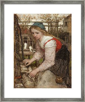 Girl At The Pump Framed Print by Matthijs Maris