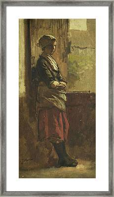 Girl At The Window Framed Print by Jacob Maris