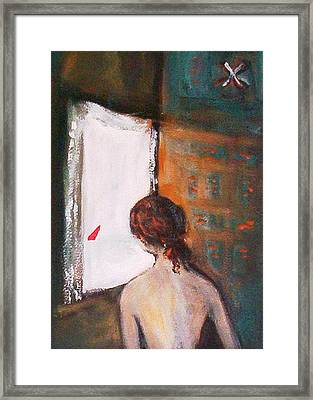 Framed Print featuring the painting Girl At The Window by Winsome Gunning