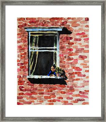 Girl At Window Framed Print