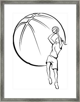 Girl Basket Ball Player Shooting Framed Print