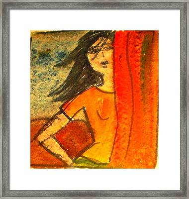 Girl Behind The Curtain Framed Print by Maria Rosaria DAlessio
