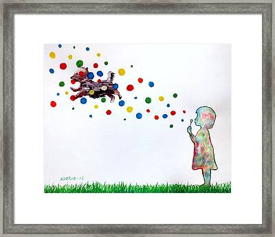 Girl Blowing Soap Bubbles And A Dog Framed Print by Edwin Alverio