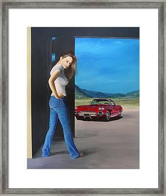 Girl By Corvette Framed Print