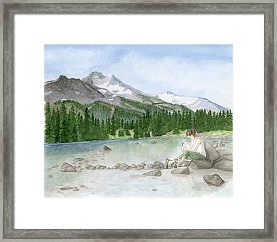 Girl By Lake Framed Print by Caroline Moses