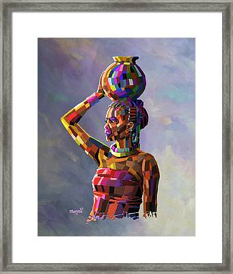 Girl Carrying Water Framed Print by Anthony Mwangi