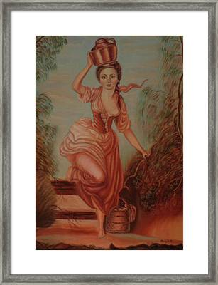 Girl Carrying Water Framed Print by Margit Armbrust