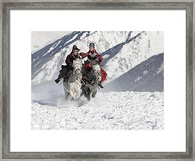 Girl Chasing Framed Print by Bj Yang