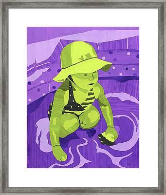 Girl Child In Wading Pool Framed Print