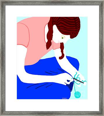 Girl Crocheting Framed Print