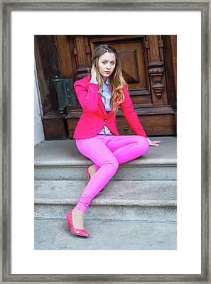 Girl Dressing In Pink Framed Print