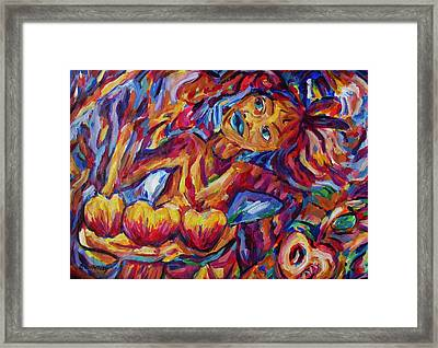 Girl Harvesting Food Under Chemtrail Sky Framed Print by Dianne  Connolly
