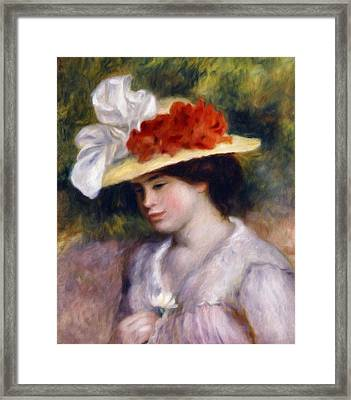 Girl Holding A Daisy Framed Print