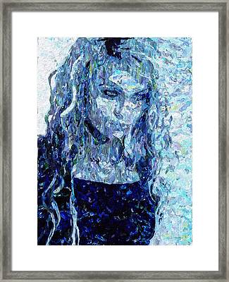 Girl In A Blue Dress Framed Print by Mark Taylor