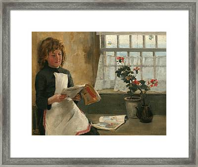 Girl In A Cottage Window Framed Print