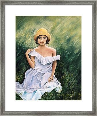 Girl In A Field Of Grass Framed Print by  Gayle  Hartman