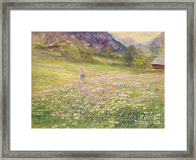 Girl In A Field Of Poppies Framed Print by John MacWhirter